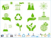 иконы экологичности зеленые Стоковое Фото