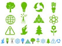 иконы экологичности зеленые Стоковое Изображение RF
