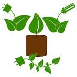 иконы экологичности зеленые Стоковые Изображения