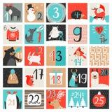 иконы элементов рождества шаржа календара пришествия приурочивают различное Иллюстрация вектора календаря комплекса предпусковых  Стоковое Изображение