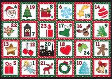иконы элементов рождества шаржа календара пришествия приурочивают различное Стоковое Фото