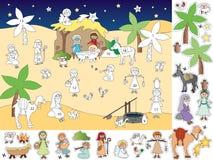 иконы элементов рождества шаржа календара пришествия приурочивают различное иллюстрация штока