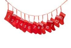 иконы элементов рождества шаржа календара пришествия приурочивают различное чулок рождества красный Стоковое фото RF