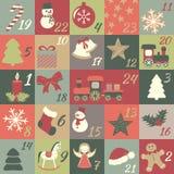 иконы элементов рождества шаржа календара пришествия приурочивают различное Стоковые Изображения RF