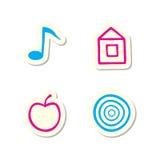 иконы яблока домашние замечают цель Стоковое Изображение