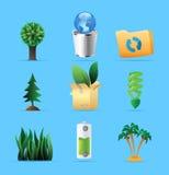 Иконы для природы, энергии и экологичности Стоковое Изображение RF