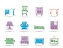 иконы дома мебели оборудования Стоковое Изображение