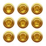 иконы 1 золота кнопки установили сеть Стоковое фото RF