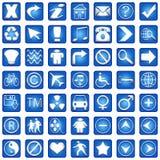 иконы 1 сини разделяют установленный квадрат Стоковые Фото