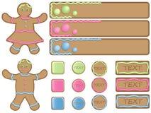 иконы gingerbread знамен Стоковое Изображение