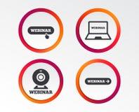 иконы webinar Знаки ПК веб-камера и тетради Стоковые Изображения RF