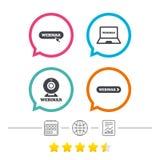 иконы webinar Знаки ПК веб-камера и тетради Стоковое Изображение