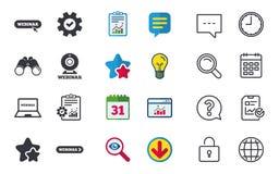 иконы webinar Знаки ПК веб-камера и тетради Стоковые Изображения