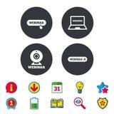 иконы webinar Знаки ПК веб-камера и тетради Стоковое Фото