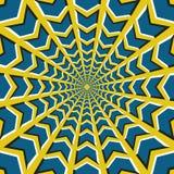 иллюзион предпосылки оптически Голубые стрелки летают кругов к центру на желтой предпосылке иллюстрация вектора