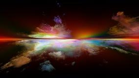 Иллюзия захода солнца иллюстрация вектора
