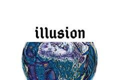 Иллюзия слова на предпосылке иллюзии стоковая фотография rf