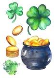 Иллюстрации акварели на день ` s St. Patrick стоковое фото