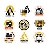 Иллюстрации вектора дизайна логотипа Backhoe и экскаватора установленные Стоковые Изображения