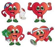 Иллюстрации вектора здоровых сердец мультфильма иллюстрация вектора