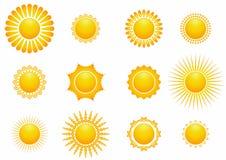 Иллюстрации значка Солнца установленные стоковое фото