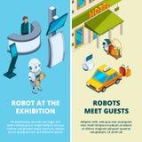 Иллюстрации концепции с различными роботами ассистентскими бесплатная иллюстрация