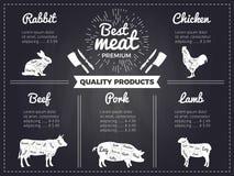 Иллюстрации нарисованные рукой домашних животных Шаблон дизайна меню для мясной лавки Изображения на черной доске бесплатная иллюстрация