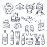 Иллюстрации установленные для салона курорта Свечи, масла и камни, терапия воды бесплатная иллюстрация