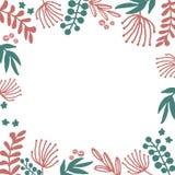 Иллюстрации флористической руки рамки вычерченные установили в стиль doodle с цветками и листьями на белом фоне бесплатная иллюстрация