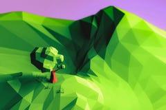 иллюстрации 3d дерево и гора ландшафта низко поли стоковые фотографии rf