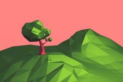 иллюстрации 3d дерево и гора ландшафта низко поли стоковое фото