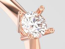 иллюстрации 3D конца engagem пасьянса розового золота вверх традиционное Стоковое Изображение