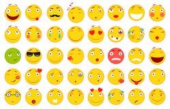 иллюстрации emoticons цветов вектор легкой editable установленный Комплект Emoji Плоские иллюстрации стиля Файл вектора для вашег Стоковая Фотография RF