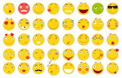 иллюстрации emoticons цветов вектор легкой editable установленный Комплект Emoji Плоские иллюстрации стиля Стоковое Изображение RF