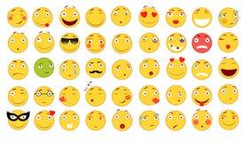 иллюстрации emoticons цветов вектор легкой editable установленный Комплект Emoji Плоские иллюстрации стиля Стоковая Фотография RF