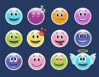 иллюстрации emoticons цветов вектор легкой editable установленный Комплект Emoji иллюстрация штока