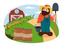 Иллюстрация аграрного в шляпе Стоковая Фотография RF