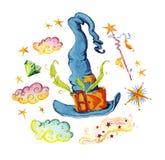 Иллюстрация акварели волшебная при элементы нарисованные рукой художнические изолированные на белой предпосылке - шляпе, волшебно иллюстрация штока