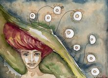 Иллюстрация акварели женщины иллюстрация вектора