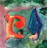 Иллюстрация акварели летучей мыши и белки meetting Стоковые Изображения