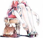 Иллюстрация акварели моды Женщина принимая ее ботинки иллюстрация штока