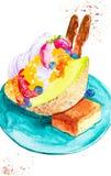 Иллюстрация акварели очень вкусного десерта дыни, клубники, голубики, сливк и торта окруженных обломоками шоколада иллюстрация вектора