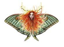 Иллюстрация акварели печати рыжеволосой девушки с превращаясь волосами в ветре с зелеными глазами, выразительном лицевом featur Стоковые Фото