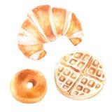 Иллюстрация акварели продуктов хлебопекарни для хлебопекарни или кафа, Стоковые Фотографии RF