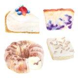 Иллюстрация акварели продуктов хлебопекарни для хлебопекарни или кафа, Стоковые Фото