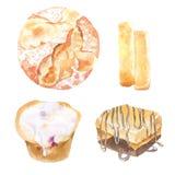 Иллюстрация акварели продуктов хлебопекарни для хлебопекарни или кафа, Стоковое фото RF