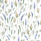 Иллюстрация акварели реалистическая флористическая картина безшовная prov Стоковое Изображение RF