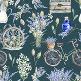 Иллюстрация акварели реалистическая флористическая картина безшовная prov Стоковое Фото