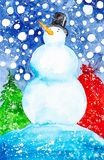 Иллюстрация акварели снеговика в шляпе на предпосылке падая сумки снега, леса и подарка стоковое изображение