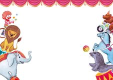 Иллюстрация акварели со смешными животными и художниками, плакатом templatefor, знаменем, картой Цирк, шоу, представление бесплатная иллюстрация